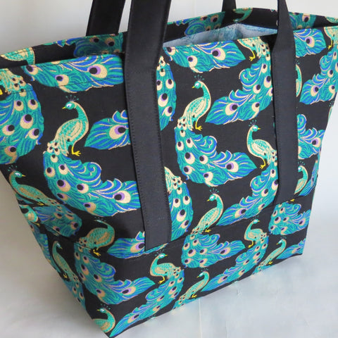 Peacock gold print tote bag, cotton bag, reusable grocery bag.
