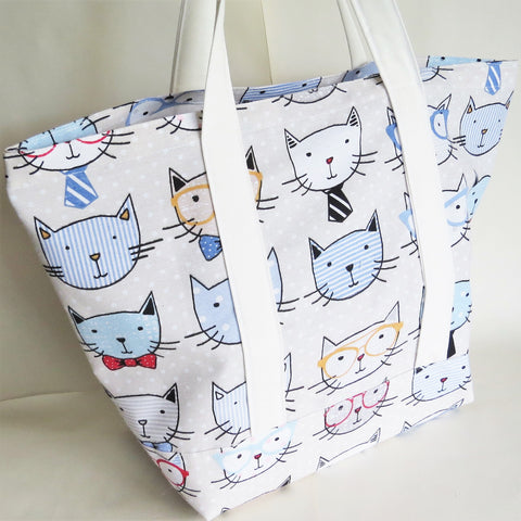 Nerdy Cats print tote bag, cotton bag, reusable grocery bag.