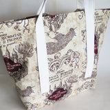 Harry potter inspired Marauder's map  print tote bag, cotton bag, reusable grocery bag, knitting project bag.