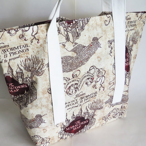 Harry potter inspired Marauder's map  print cotton tote bag, reusable grocery bag.
