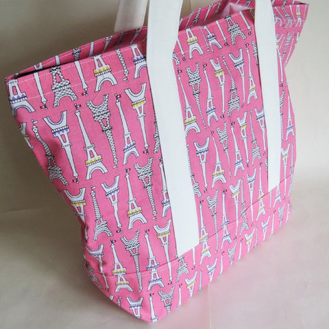Pink Paris print tote bag, cotton bag, reusable grocery bag, knitting project bag.