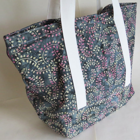 Charcoal Grey and pink print tote bag, cotton bag, reusable grocery bag, knitting project bag.