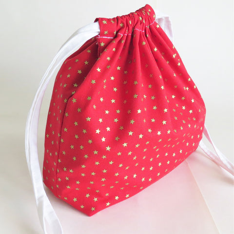 Red Gold stars print cotton drawstring bag or knitting project bag.
