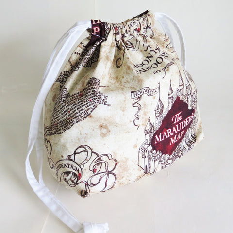 Harry Potter inspired Marauder's map print cotton drawstring bag or knitting project bag.