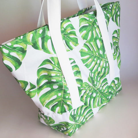Tropical palm leaves print tote bag, cotton bag, reusable grocery bag.
