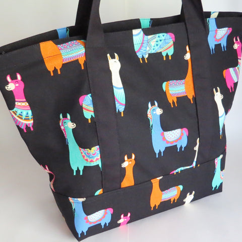 Llama print tote bag, cotton bag, reusable grocery bag.