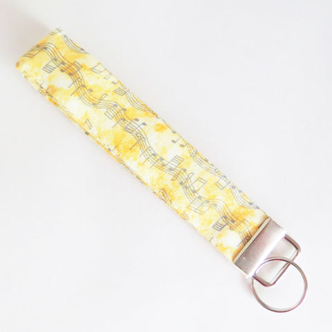 Yellow Musical notes Fabric Keychain, Key Fob Wristlet, Key Fob Keychain, Key Wrist Strap.
