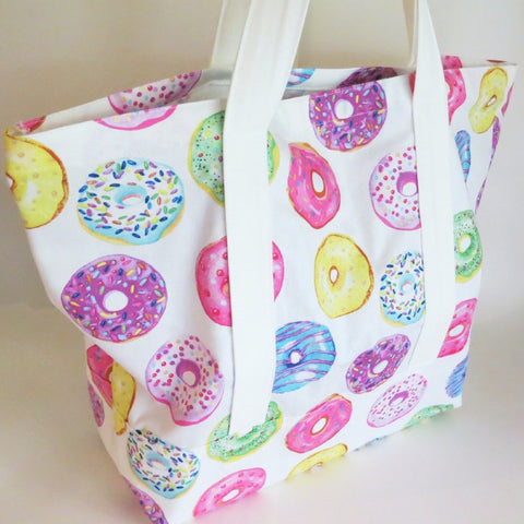 Donuts print tote, tote bag, handmade bag, cotton bag, reusable grocery bag.