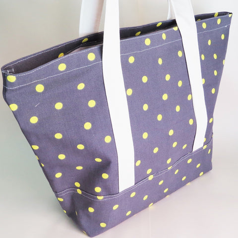 Neon Green and grey polka dot tote bag, cotton bag, reusable grocery bag, knitting project bag.