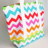 Colourful Chevron tote bag, cotton bag, reusable grocery bag, knitting project bag.