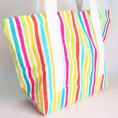 Colorful Stripes tote bag, cotton bag, reusable grocery bag, knitting project bag.