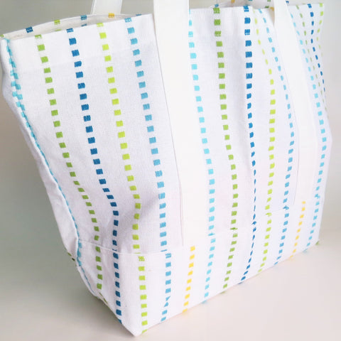 Colorful stripes tote bag, cotton bag, reusable grocery bag, Green Market bag.