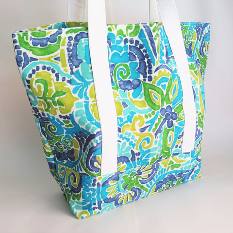 Aqua Painted print tote, tote bag, handmade bag, cotton bag, reusable grocery bag.