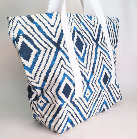 Blue and white ikat print tote bag, cotton bag, reusable grocery bag, knitting project bag.