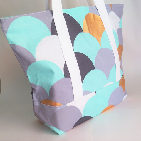 Aqua Grey copper waves print tote bag, cotton bag, reusable grocery bag.