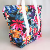 Black floral print with butterflies tote bag