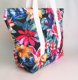 Lillies print tote bag, cotton bag, reusable grocery bag, knitting project bag.