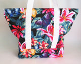 Black floral print with butterflies tote bag, cotton bag, reusable grocery bag.