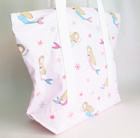 Pink Mermaid print tote bag, cotton bag, reusable grocery bag, knitting project bag.
