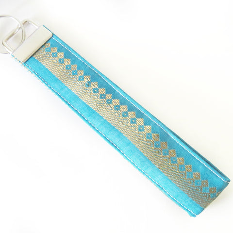 Indian Aqua Zari gold thread Fabric Keychain or Key Fob Wristlet.
