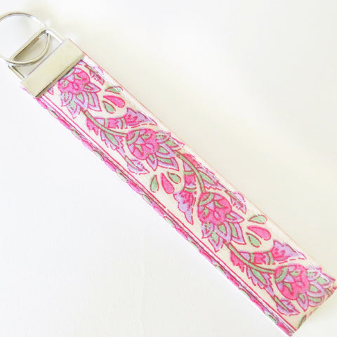 Indian Pink Kalamkari print Fabric Keychain or Key Fob Wristlet.