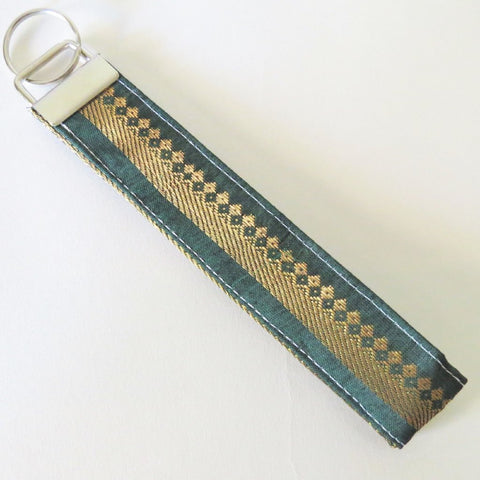 Indian Green Zari gold thread Fabric Keychain or Key Fob Wristlet.