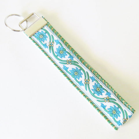 Indian Blue Vine Floral Kalamkari print Fabric Keychain or Key Fob Wristlet.