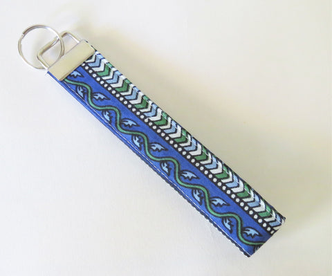 Indian Blue Chevron Kalamkari print Fabric Keychain or Key Fob Wristlet.