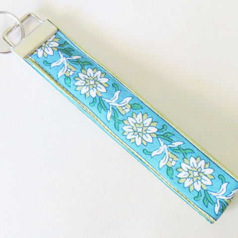 Indian Blue Kalamkari print Fabric Keychain or Key Fob Wristlet.