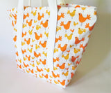 Orange Yellow Chicken print tote bag, cotton bag, reusable grocery bag, knitting project bag.