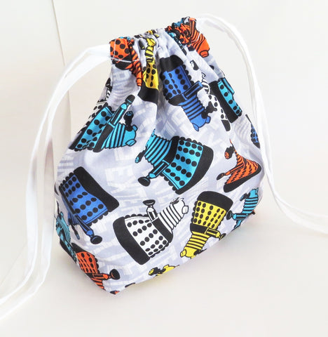 Doctor who inspired Dalek exterminate print cotton drawstring bag or knitting project bag.
