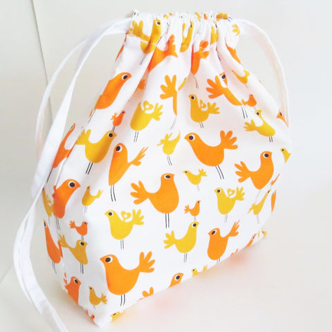 Orange Yellow chicken print cotton drawstring bag or knitting project bag.