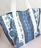 Mandala Peacock feather print tote bag, cotton bag, reusable grocery bag.