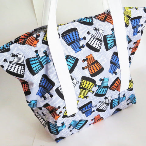 Doctor who inspired dalek exterminate print tote bag, cotton bag, reusable grocery bag, knitting project bag.