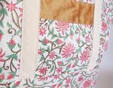 Indian Kalamkari block print with gold accents and raw silk print tote bag, cotton bag, reusable grocery bag.