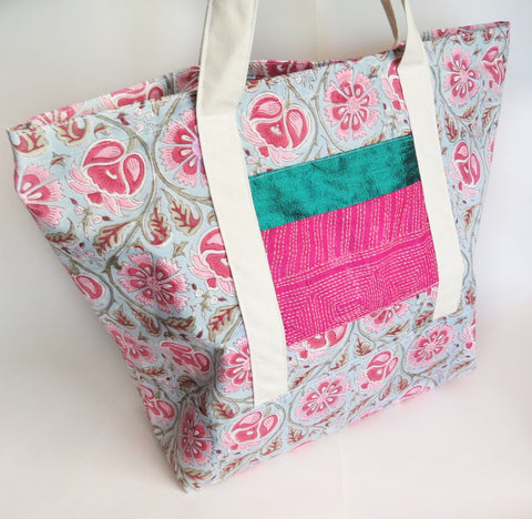 Indian Kalamkari block print hand embroidered and raw silk print tote bag, cotton bag, reusable grocery bag.
