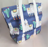 Llama and cactus print tote bag, cotton bag, reusable grocery bag, knitting project bag.