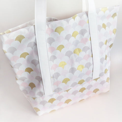 Baby pink grey and gold print tote bag, cotton bag, reusable grocery bag, knitting project bag.