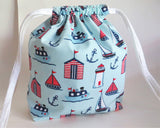 Nautical blue print Drawstring bag, cotton bag, knitting project bag.
