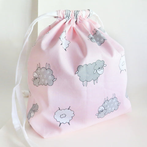 Sheep pink print cotton drawstring bag or knitting project bag.