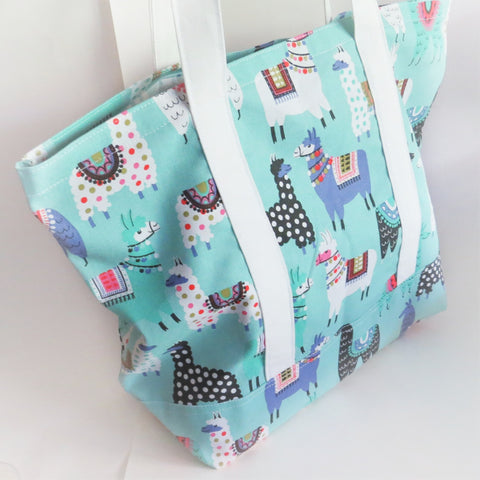 Green Llama print tote bag, cotton bag, reusable grocery bag.