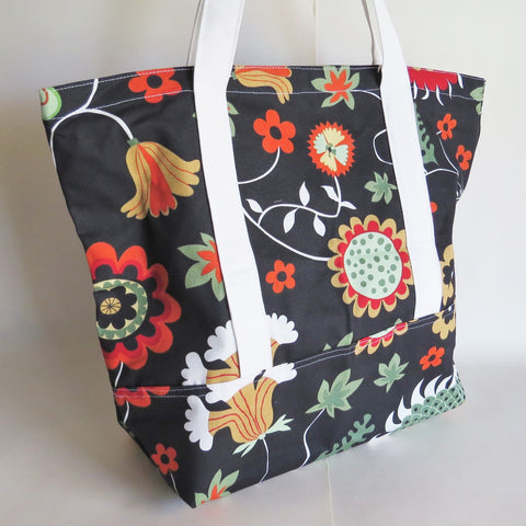 Beautiful floral print tote bag, cotton bag, reusable grocery bag, knitting project bag.