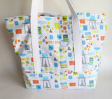 Science Chemistry print tote bag, cotton bag, reusable grocery bag, knitting project bag.