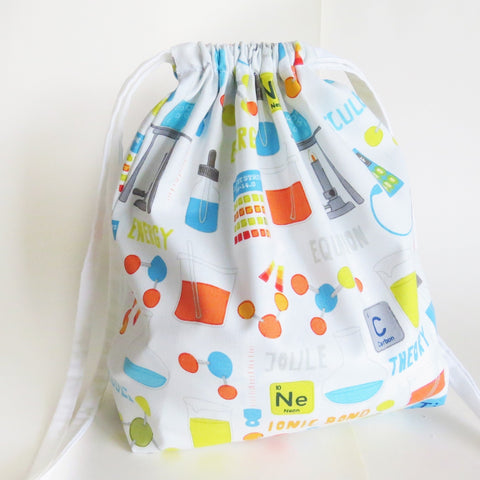 Science Chemistry print cotton drawstring bag or knitting project bag.