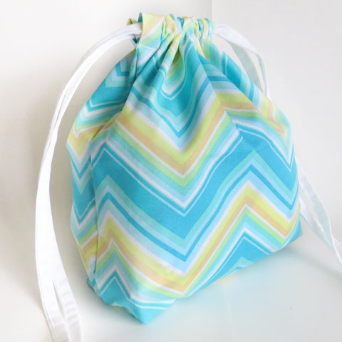 Blue Yellow Chevron print cotton drawstring bag or knitting project bag.