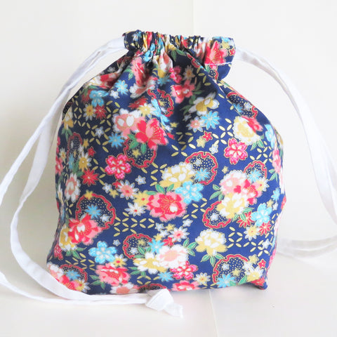 Oriental Flowers and gold accents print cotton drawstring bag or knitting project bag.