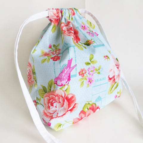 Flowers and birds print cotton drawstring bag or knitting project bag.