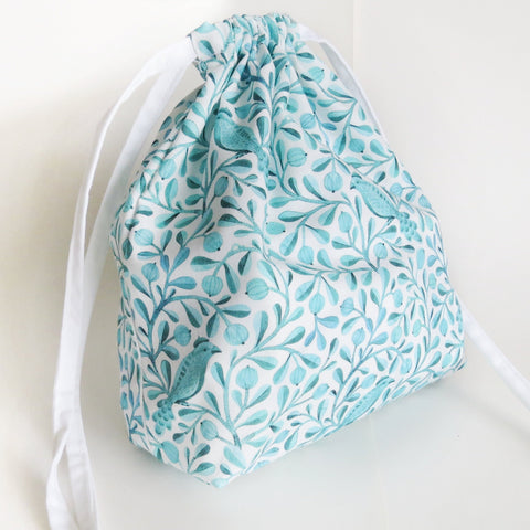 Teal Blue Birds and flowers print cotton drawstring bag or knitting project bag.