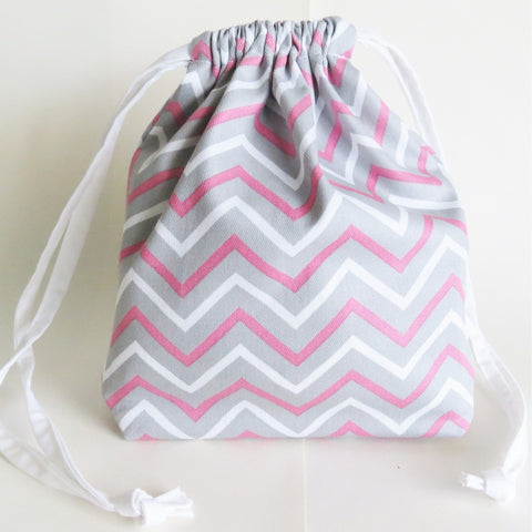 Grey and pink Chevron print cotton drawstring bag or knitting project bag.