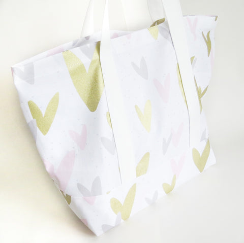 Baby pink grey and gold hearts print tote bag, cotton bag, reusable grocery bag, knitting project bag.